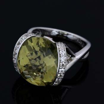 Authentic Lorenzo .925 Sterling Silver Genuine Olive Green Quartz, Fire Opal & White Sapphire Ring Size 7