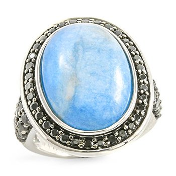 Authentic Lorenzo .925 Sterling Silver Genuine Oval Shape Milky Aquamarine & Round Cut Black Spinel Ring Size 7