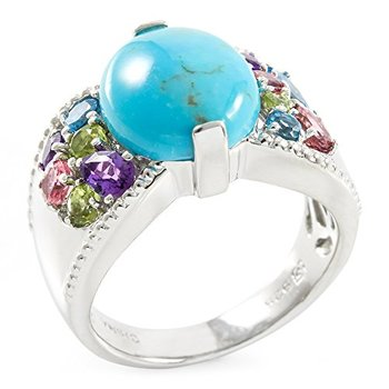 Authentic Lorenzo .925 Sterling Silver Natural Cabochon Chinese Turquoise & Round Cut Multi Stones Ring, Size 7