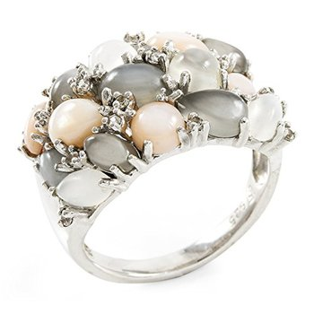 Authentic Lorenzo .925 Sterling Silver Natural Moonstone, Pink Shell & White Sapphire Ring, Size 6.5