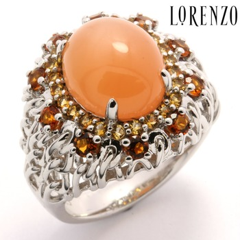 Authentic Lorenzo .925 Sterling Silver Orange Moonstone Ring Size 6