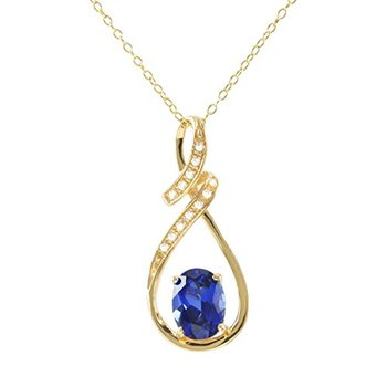 Authentic Lorenzo .925 Sterling Silver, Oval Shape Sapphire & White Sapphire Necklace