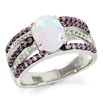 Authentic Lorenzo .925 Sterling Silver Oval Shaped Created Pink Opal & Created White, Pink Sapphire Ring Size 6.75