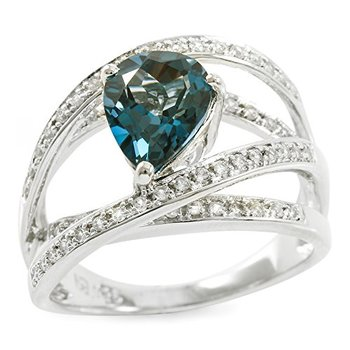 Authentic Lorenzo .925 Sterling Silver Pear Shape Genuine London Blue Topaz & Created White Sapphire Ring, Size 7
