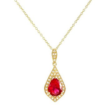 Authentic Lorenzo .925 Sterling Silver, Pear Shape Ruby and Round Cut White Sapphire Necklace