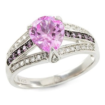 Authentic Lorenzo .925 Sterling Silver Pear Shaped Created Pink Sapphire & Created White Sapphire Ring, Size 6.75