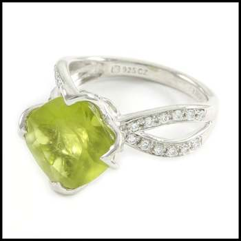 Authentic Lorenzo .925 Sterling Silver, Peridot & AAA Grade CZ's Ring Size 6