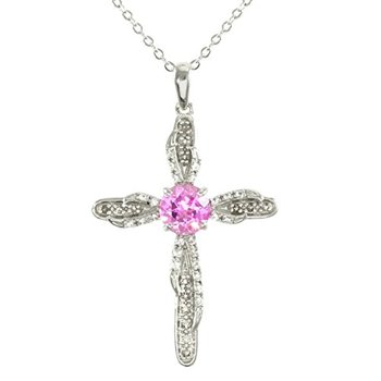 Authentic Lorenzo .925 Sterling Silver, Pink and White Sapphire & Smoky Quartz Cross Necklace