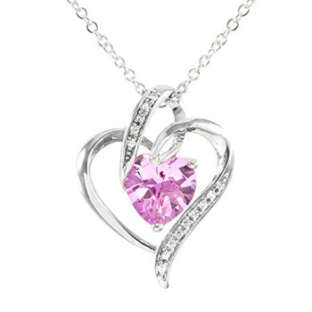 Authentic Lorenzo .925 Sterling Silver, Pink Sapphire and White Sapphire Heart Shape Necklace