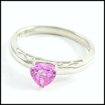 Authentic Lorenzo .925 Sterling Silver, Pink Sapphire Ring Size 7