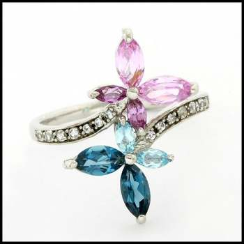 Authentic Lorenzo .925 Sterling Silver Pink Tourmaline, Blue  & London Blue Topaz, Pink & White Sapphire Ring Size 7