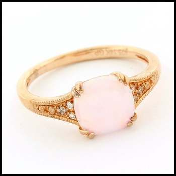 Authentic Lorenzo .925 Sterling Silver & Rose Gold Plated, 1.25ctw Pink Opal & 0.03ctw White Sapphire Ring, Size 7