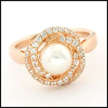 Authentic Lorenzo .925 Sterling Silver Rose Gold Plated White Fresh Water Pearl & White Sapphire Ring, Size 7
