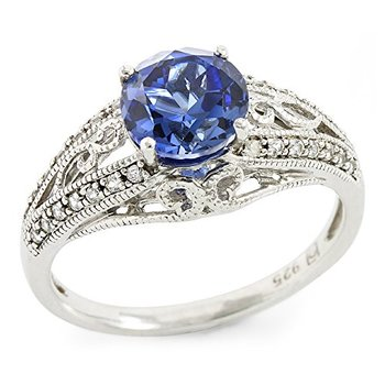 Authentic Lorenzo .925 Sterling Silver Round Brilliant Cut Created Blue & White Sapphire Ring, Size 7
