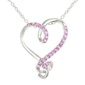 Authentic Lorenzo .925 Sterling Silver Round Brilliant Cut Created Pink Sapphire Heart Necklace
