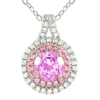 Authentic Lorenzo .925 Sterling Silver, Round Cut Pink Sapphire & White Sapphire Necklace