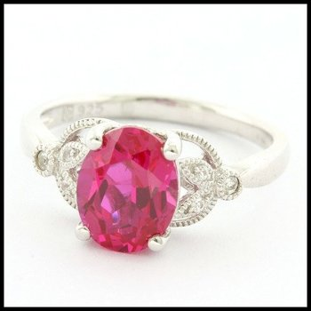 Authentic Lorenzo .925 Sterling Silver Ruby & White Sapphire Ring Size 6.5