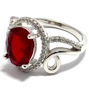 Authentic Lorenzo .925 Sterling Silver Ruby & White Topaz Ring Size 7