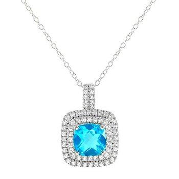 Authentic Lorenzo .925 Sterling Silver, Tourmaline Color Quartz & White Sapphire Necklace