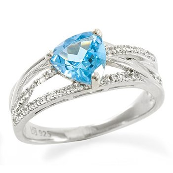 Authentic Lorenzo .925 Sterling Silver Trilliant Cut Natural Swiss Blue Topaz & Created White Sapphire Ring Size 7