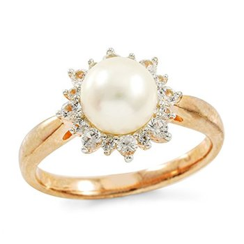 Authentic Lorenzo .925 Sterling Silver White Freshwater Pearl & Created Round Brilliant Cut White Sapphire Women's Ring, Size 7