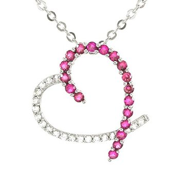 Authentic Lorenzo .925 Sterling Silver White Gold Finish White Sapphire & Ruby Heart Shape Necklace