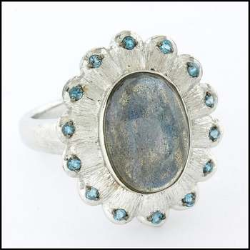 Authentic Lorenzo .925 Sterling Silver & White Gold Overlay Genuine Mother of Pearl & Blue Topaz Ring Size 9