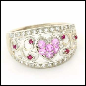 Authentic Lorenzo .925 Sterling Silver & White Gold Plated, 0.53ctw Genuine Pink Topaz, Pink&White Sapphire Ring, Size 6.75