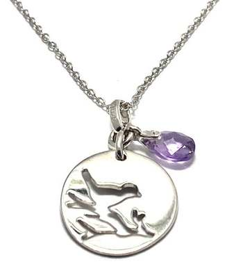 Authentic Lorenzo .925 Sterling Silver & White Gold Plated, 0.75ctw Amethyst Necklace