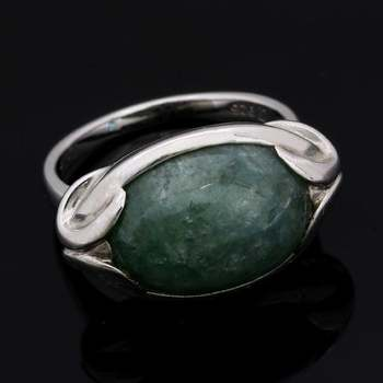 Authentic Lorenzo .925 Sterling Silver & White Gold Plated, 11.03ctw Genuine Russian Jade Ring Size 7