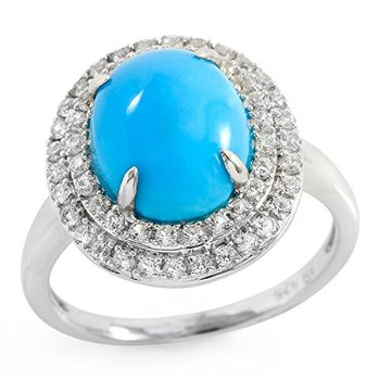 Authentic Lorenzo .925 Sterling Silver White Gold Plated 11mm Oval Shape Natural Turquoise & White Sapphire Ring Size 7