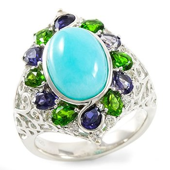 Authentic Lorenzo .925 Sterling Silver White Gold Plated 13mm Natural Amazonite, Iolite, Diopside & White Sapphire Ring Size 8