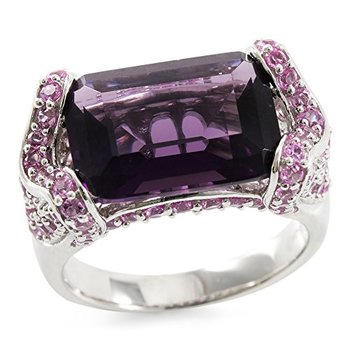 Authentic Lorenzo .925 Sterling Silver White Gold Plated 14mm Cushion Cut Amethyst & Pink Sapphire Ring, Size 8