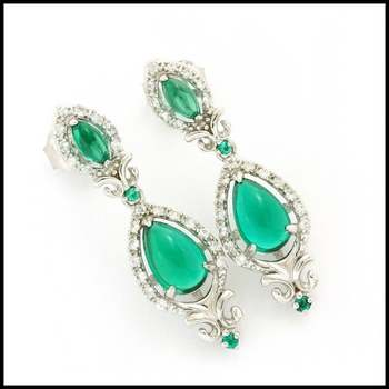 Authentic Lorenzo .925 Sterling Silver & White Gold Plated, 1.68ctw Emerald & 0.64ctw White Sapphire Earrings