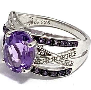Authentic Lorenzo .925 Sterling Silver & White Gold Plated, 2.55ctw Amethyst Ring Size 7