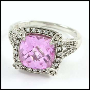 Authentic Lorenzo .925 Sterling Silver & White Gold Plated, 3.0ctw Pink Topaz & White Sapphire Ring Size 6.5