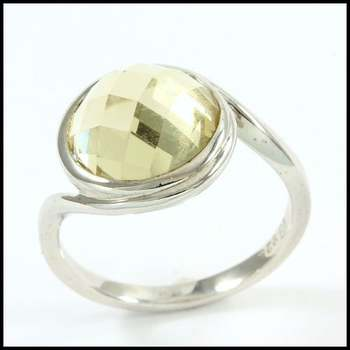 Authentic Lorenzo .925 Sterling Silver & White Gold Plated, 4.00ctw Lemon Quartz Ring Size 6.5