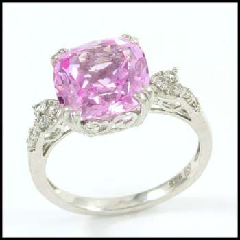 Authentic Lorenzo .925 Sterling Silver & White Gold Plated, 4.30ctw Pink Topaz & White Sapphire Ring Size 7