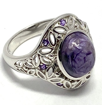 Authentic Lorenzo .925 Sterling Silver & White Gold Plated, 4.67ctw Genuine Charoite & 0.16ctw Amethyst Ring, Size 10