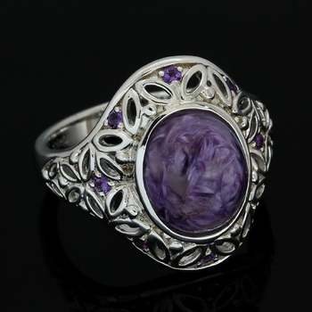 Authentic Lorenzo .925 Sterling Silver & White Gold Plated, 4.67ctw Genuine Charoite & 0.16ctw Amethyst Ring, Size 7