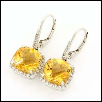 Authentic Lorenzo .925 Sterling Silver & White Gold Plated, 6.0ctw Genuine Citrine & 0.29ctw White Sapphire Earrings