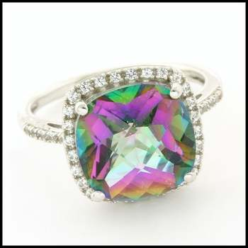 Authentic Lorenzo .925 Sterling Silver & White Gold Plated, 6.95ctw Genuine Mystic Topaz & 0.19ctw White Sapphire Ring, Size 7