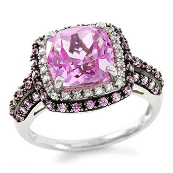Authentic Lorenzo .925 Sterling Silver White Gold Plated 9mm Cushion Cut Pink Sapphire & Round White Sapphire Ring, Size 7