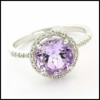 Authentic Lorenzo .925 Sterling Silver & White Gold Plated Amethyst & White Sapphire Ring, Size 5