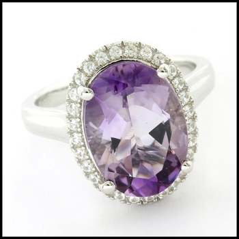 Authentic Lorenzo .925 Sterling Silver White Gold Plated, Amethyst & White Sapphire Ring, Size 7