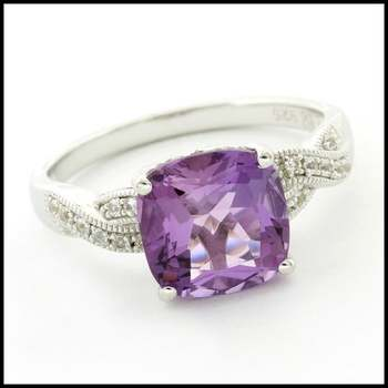 Authentic Lorenzo .925 Sterling Silver & White Gold Plated Amethyst & White Sapphire Ring, Size 7