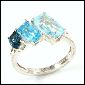 Authentic Lorenzo .925 Sterling Silver & White Gold Plated, Blue Topaz Ring Size 7
