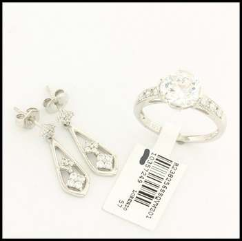 Authentic Lorenzo .925 Sterling Silver White Gold Plated Cubic Zirconia Set of Ring & Earrings