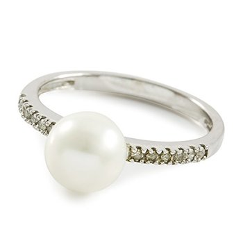 Authentic Lorenzo .925 Sterling Silver White Gold Plated Freshwater Cultured Pearl & Genuine Diamond Ring Size 7