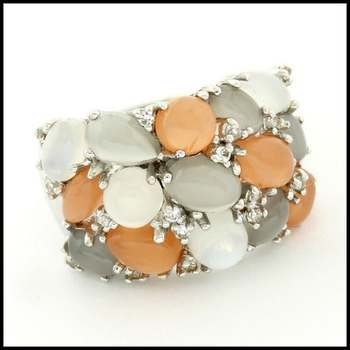 Authentic Lorenzo .925 Sterling Silver White Gold Plated, Genuine Agate & Moonstone & White Topaz Ring, Size 6.5